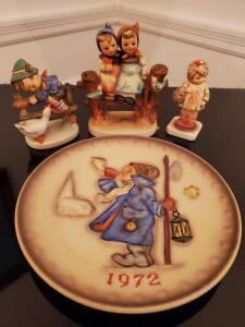 Hummel figurines and 1972 collectors plate.