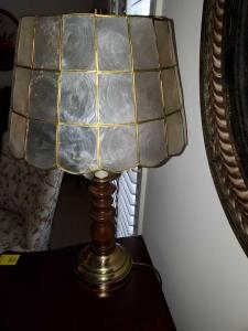 "Pretty Lamp with capiz shell shade. 23"" tall"