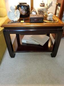 "End table with glass top. 23x28x21"" tall."