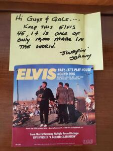 Elvis Limited edition yellow 45 record with jacket and note from Sam Phillips son.