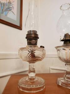 "Aladdin model B oil lamp. *Globe has been replaced. Lamp is 12.5"" tall. Globe is 8.5"" tall."