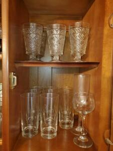 Cabinets of glassware as pictured in china hutch