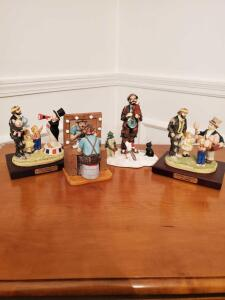 3 Emmett kelly jr. limited edition collectables and a Christmas piece.