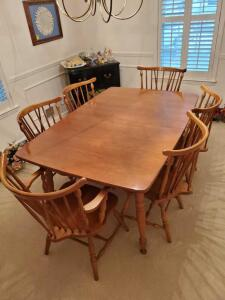 "Wonderful kitchen table and 6 windsor fan back chairs. Also has a 12"" leaf (not pictured)"