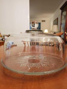 Glass dome cake plate.