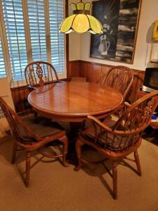 "44"" Round pedestal table and 6 windsor fan back chairs. Very heavy oak!"