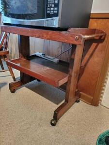 "Hand made tea cart on casters. 33x19x31"" tall."