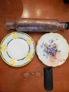 Grouping of antique/vintage items. Glass rolling pin, 2 plates, eye glasses.