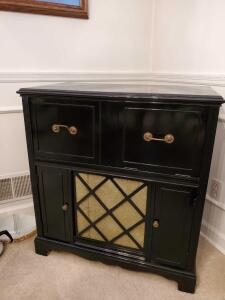 Lovely old phonograph Cabinet finished in black lacquer auto paint.
