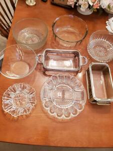 Assorted glassware. Salad bowls, baking dishes, egg plate, etc.