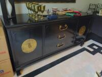 Three drawer black sideboard with storage, items on top not included