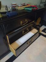 Three drawer black sideboard with storage, items on top not included - 2