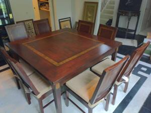 Square dining set with eight chairs in coordinating cushions