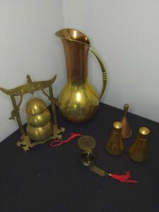 Collection of brass and copper dinner accessories