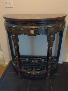 Beautiful gold inlaid black lacquer entry table