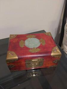 Unique wood jewelry box with Jade inlay and brass accents