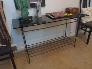 Iron and smoked glass console table (items on top not included)