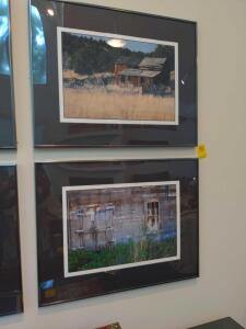 Pair of framed and matted rustic barn photographs