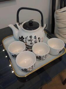 Ceramic tea set with serving tray