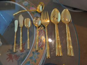 Horchow Gold Bamboo Flatware Set