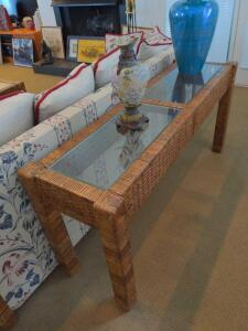 Glass and wicker rattan console table (items on top not included)
