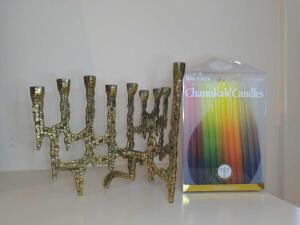 Vintage Brass Menorah and Chanukah candles
