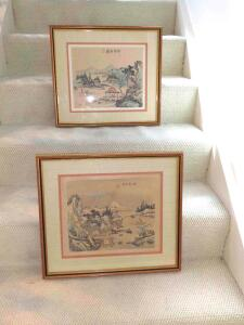 Framed & matted, hand-painted artwork on silk (pair)