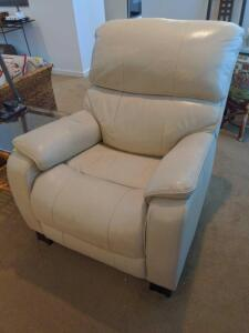 Electric Ivory Recliner with USB port with ottoman