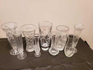 "A collection of glass vases. Two are eapg. Sizes range from 7"" to 9.5""."