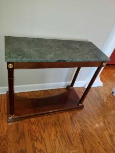 "green marble top entry table. 35x14x30"" tall."