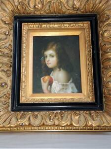Joseth Sharon signed painting of a young girl. 19x21.