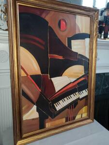"Large Framed musical abstract. 29 x 41""."