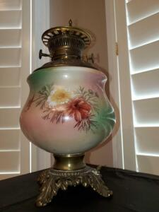 Antique Base of gone with the wind style electrified lamp. Globe and chimney are missing.