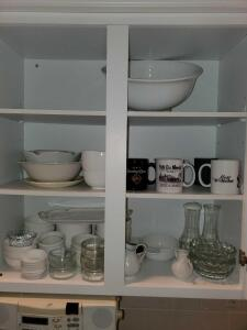 Cabinet of dishware.