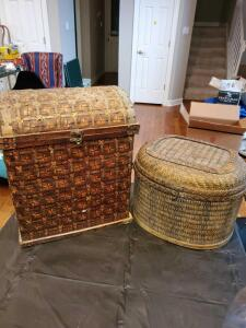 "Two woven basket style containers. 17x20x13"" tall and 16x13x12"" tall."