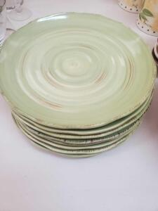 "A grouping or nine 11"" rustigo hand painted plates"