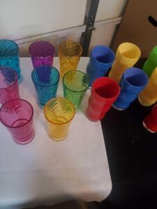 "15 plastic drinking glasses, 8"" tall"