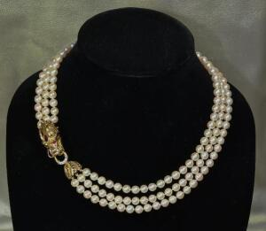 Triple Strand Akoya Pearl Necklace with Dragon Clasp