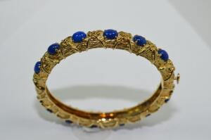 Lady's 18 Karat Gold and Lapis Bracelet