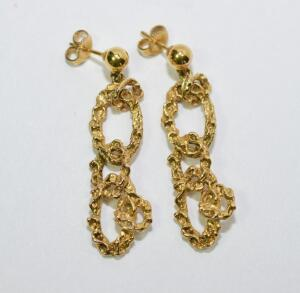 Gold Nugget Link Earrings