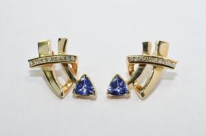 Lady's 14 Karat Yellow Gold, Tanzanite and Diamond Earrings