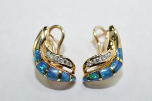 Lady's 14 Karat Yellow Gold, Diamond and Opal Earrings