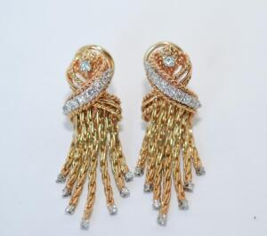 Lady's Gold and Diamond Fringe Earrings
