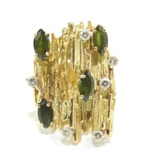 Lady's 18 Karat Yellow Gold Tourmaline and Diamond Ring