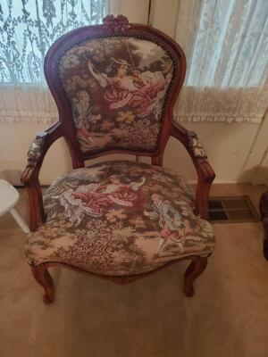 "A tapestry covered, nailhead trimmed, armchair. Seat is 14"" tall, back is 36"", 24"" across, 20"" front to back"
