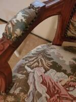 "A tapestry covered, nailhead trimmed, armchair. Seat is 14"" tall, back is 36"", 24"" across, 20"" front to back - 3"