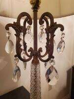 A gorgeous crystal lamp, accented in brass with a marble base - 3