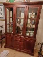 Fantastic Bassett lighted china cabinet, contents are not included