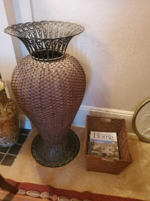 "A pair of wicker type baskets, 1 is actually an urn that is 40"" tall and has a metal top, the other is 10"" tall, 16 x 13"