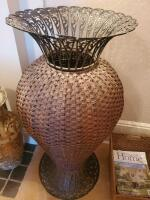 "A pair of wicker type baskets, 1 is actually an urn that is 40"" tall and has a metal top, the other is 10"" tall, 16 x 13 - 2"